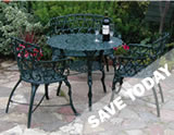 Massive savings on Cast iron garden furniture patio sets.