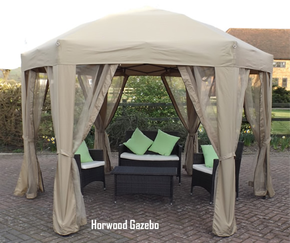 charndon round metal garden gazebo with curtains. Black Bedroom Furniture Sets. Home Design Ideas
